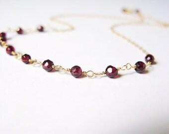 Delicate Garnet necklace-dainty garnet choker-garnet chain necklace-dainty gemstone choker