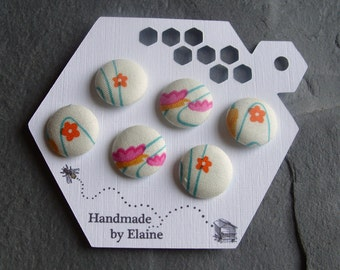 Fabric Covered Buttons - 6 x 19mm Buttons, Handmade Button, Orange Flower Buttons, Aqua Flower Buttons, Wave Buttons, Cream Buttons, 2459