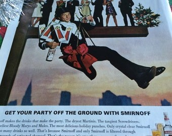 1966 Christmas Smirnoff Vodka Ad featuring Sid Caesar, get your party off the ground.