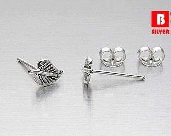 925 Sterling Silver Oxidized Earrings, Leaf Earrings, Stud Earrings (Code : K16A)
