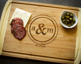 Personalized Cutting Board, Large Cutting Board with Drip Groove, Custom Cutting Board: Wedding, Housewarming, Mother's Day, Anniversary