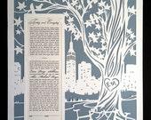 Papercut Ketubah New York City With Tree