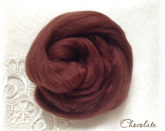 Extrafine Merino WOOL Dyed TOPS  19 Microns color Chocolate per 25 gr needle felting spinning teddy bear making supplies