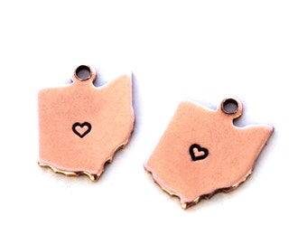 2x Rose Gold Plated Ohio State Charms w/ Hearts - M132/H-OH