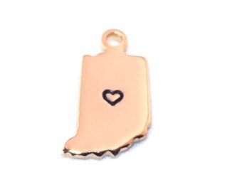 2x Gold Plated Indiana State Charms w/ Hearts - M115/H-IN