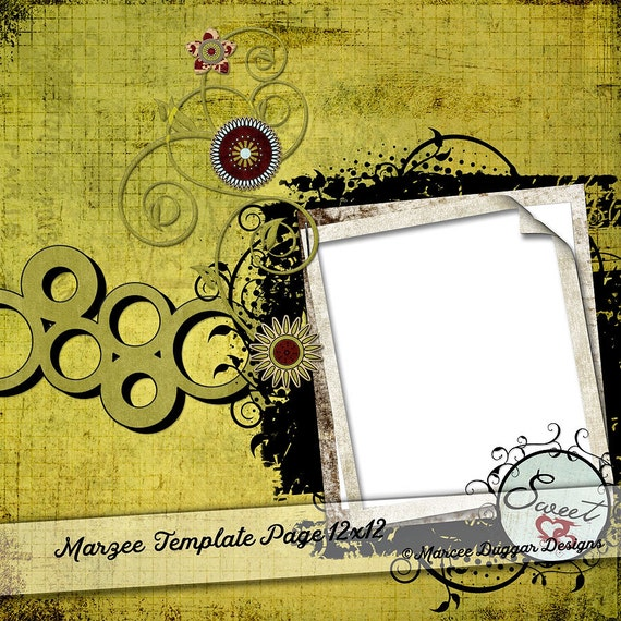 Template Photo Album Page | Digital Scrapbooking | Scrapbook | Add Photos | Green Swirls | Pop Colors | Marzee