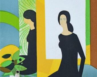 ANDRE MINAUX - 'Jeux de miroir' - rare limited edition vintage lithograph - c1974 (edition of 25. Picasso Int)