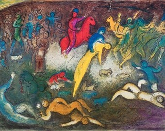 MARC CHAGALL - 'Chloe is carried off by the Methymneans' - large vintage offset lithograph - c1977 (George Braziller, Germany)