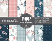 Floral Digital Paper FALL IN LOVE stylish flowers, plaid patterns, romantic pink and blue, fall flowers, deer with flowers, fall pine cones