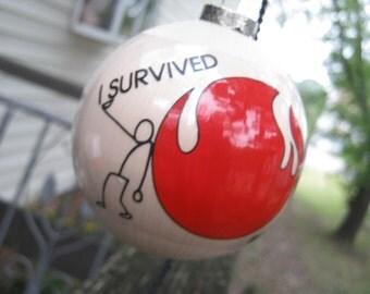 """1982 World's Fair Christmas Ornament, """"I Survived The 1982 World's Fair"""", Red And White Ornament, Souvenir, World's Fair Momento,"""