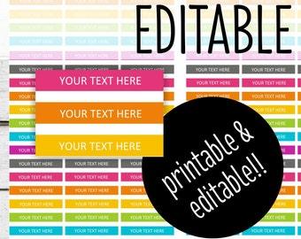 PRINTABLE Planner Stickers - Editable Section Headers - for Erin Condren - INSTANT DOWNLOAD