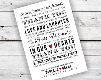 DIY Wedding Reception Thank You Card Printable - Currently Shown in Black and Red