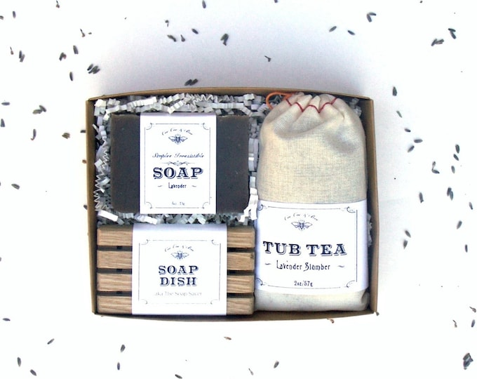 Lavender Gift Set - Tub Tea + Handmade Soap Bar + Soap Dish - relaxing spa pack