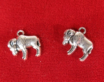 "10pc ""Buffalo"" charms in antique silver (BC1074)"