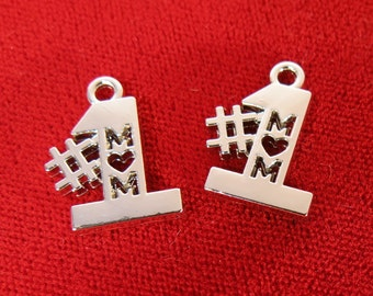 "5pc ""# 1 Mom"" charms in silver style rhodium-plated (BC968)"