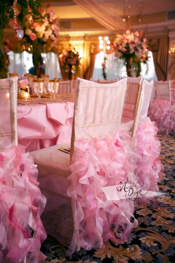 Curly Willow Bridal Chair Cover Wedding Ruffle Chair