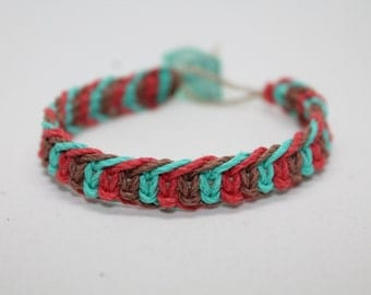 Bright Teal/Coral/Brown Fishbone Hemp Bracelet