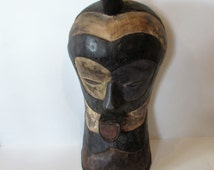 A Stunning  Central African Hand Carved Soft Wood Tribal Mask - Free Standing Or Wall Hanging /MEMsArtShop.