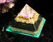 Violet Flame Orgone ~ Orgonite Shungite Pyramid ~ Pure Protection