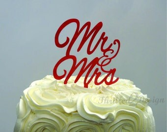 6 inch Mr and Mrs Cake Topper - Wedding, Celebrate, Anniversary, Party