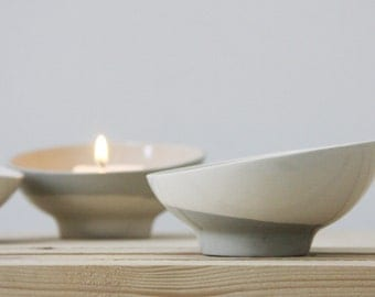 Ceramic bowl in white and gray. ceramic planter, ceramic dipping bowl, ceramic candle holder