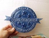 100% Certified Cruelty-Free Kitchen.  Rustic Ceramic Medallion Folk Art.  Compassionate Kitchen Certification.