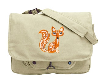 Fox with Flourish Embroidered Canvas Messenger Bag