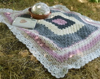Crochet Baby Girl Blanket Afghan for girls - pink green yellow  white color MADE TO ORDER
