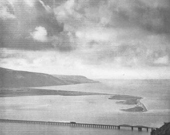 Barmouth Bridge Mawdach Estuary Vintage Print photograph Vintage ephemera old