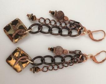 Earrings Multi Chain Dangle Clay
