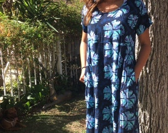 Hawaiian dress, blue cotton dress, medium, large
