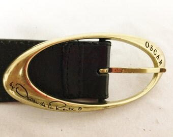 Oscar De LaRenta, Belt, Buckle,Black Leather Belt