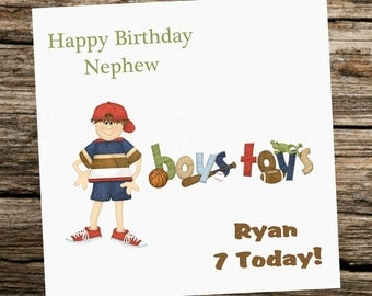 Personalised Birthday Card - Boy - Son Nephew Grandson Godson....Boys Toys... Any age 1st....4th....7th...etc