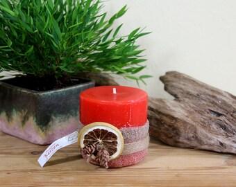 Pillar candle, sandalwood scent of oranges handmade