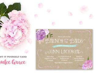 bridal brunch invitation, lilac bridal shower invitation, lavender floral shower invite, printable invitation, kraft paper,whimsical invite
