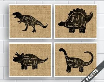 T-Rex, Stegosaurus, Triceratops, Brontosaurus  (Butcher Diagram Series) - Set of 4 - Art Prints (Featured French Country) Kitchen Prints