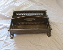 Brass Claw Footed Divided Tray Storage Caddy