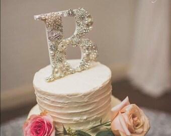 Brooch Covered Wedding Monogram Cake Topper, Bling Wedding Topper