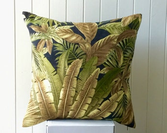 Indoor/Outdoor Tommy Bahama 45cm x 45cm Cushion / Pillow / Square  Cover Green Tropical Fern - Palm - Banana Leaf