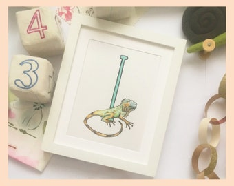 """I is for Iguana. Alphabet illustration 8""""x10"""" mounted print"""