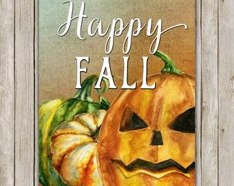 8x10 Happy Fall Print, Wall Decor Art, Home Decor Poster, Fall Decoration, Fall Wall Art, Autumn, Thanksgiving Decor, Instant Download