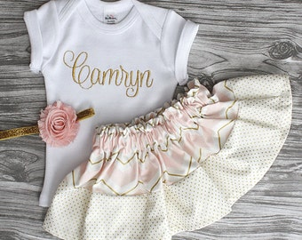 Coming home outfit baby girl blush pink and gold monogrammed onepiece,pink and gold skirt and shabby flower headband newborn photos