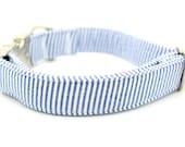Seersucker Dog Collar Blue -  DC-5113
