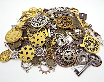 150 Steampunk Charms, Keys and Padlocks, Clocks and Cogs, Metal Charms, Mega Steampunk Pack, Bulk Charms, Steampunk Jewelry, UK Seller