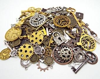 150 Steampunk Charms, Keys and Padlocks, Clocks and Cogs, Metal Charms, Mega Steampunk Pack, Bulk Charms, Steampunk Jewelry, UK Seller