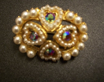 Very Beautiful Authentic Vintage Four Heart/ Pearl/Stone Set  Wedding/Love Brooch * One Only