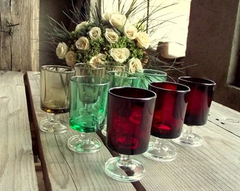 Vintage Liquor Glasses - Set of 9 - French Shot Glasses - Luminarc Glasses - Liquor Stemmed Glass - Liqueur Glasses - Luminarc Cavalier