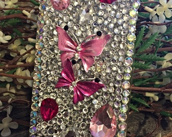 Iphone 6 bling cell phone case, butterfly cell phone case, pink butterflies, mothers day gifts, birthday gifts, pink butterfly bling