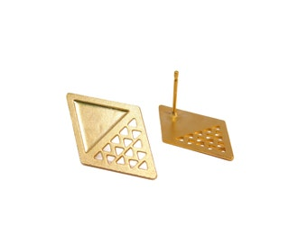 Gold Geometric Studs, 1 Pair, Rhombus Post Earrings, Triangle Gold Earrings, Geometric Jewelry, Laser Cut Jewelry, Wholesale Jewelry