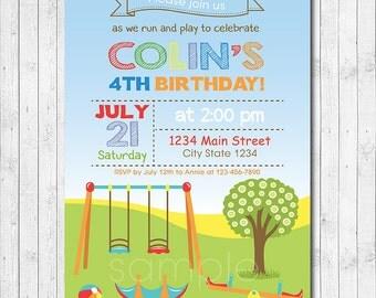 Play Park Birthday Invitation, Play Park Invite, Play ground Invitation, Playground invite, Picnic Invite, Digital Printable File